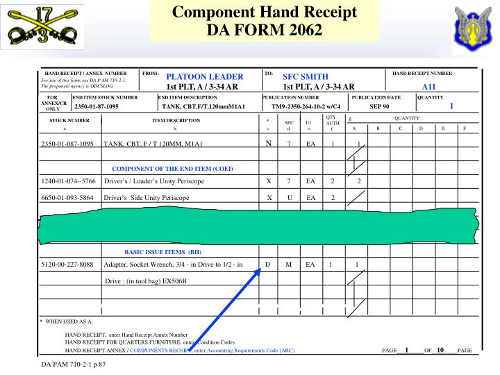 Component Hand Receipt