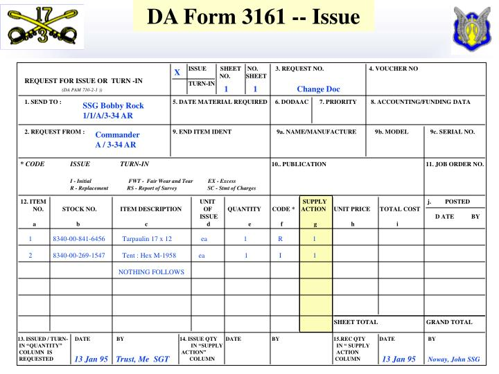 DA Form 3161 -- Issue