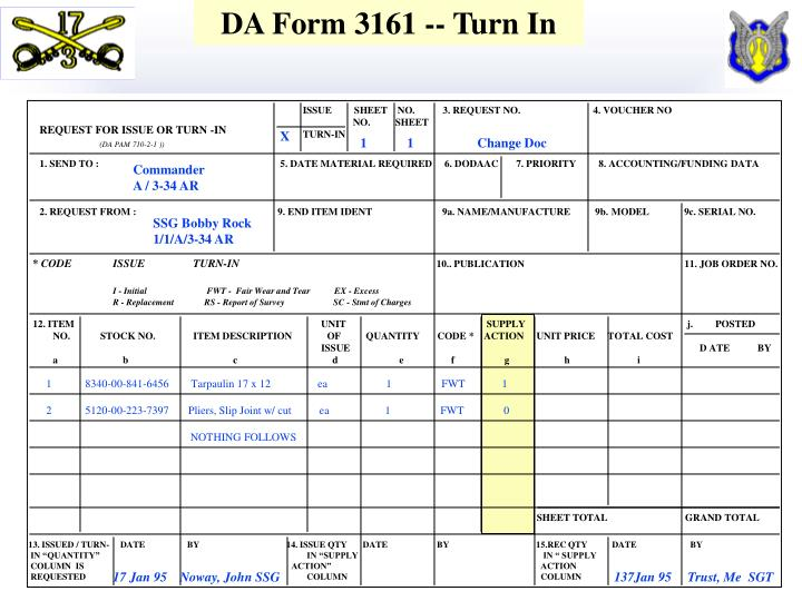 DA Form 3161 -- Turn In