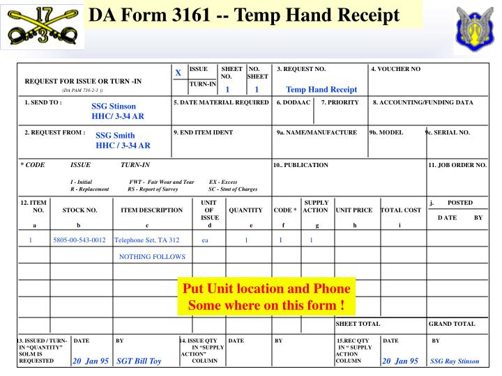 DA Form 3161 -- Temp Hand Receipt