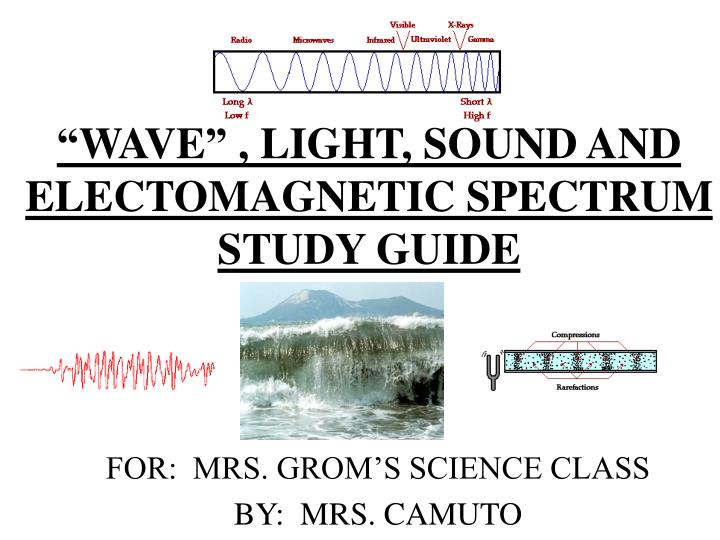 """""""WAVE"""" , LIGHT, SOUND AND ELECTOMAGNETIC SPECTRUM STUDY GUIDE"""