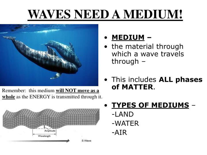 WAVES NEED A MEDIUM!