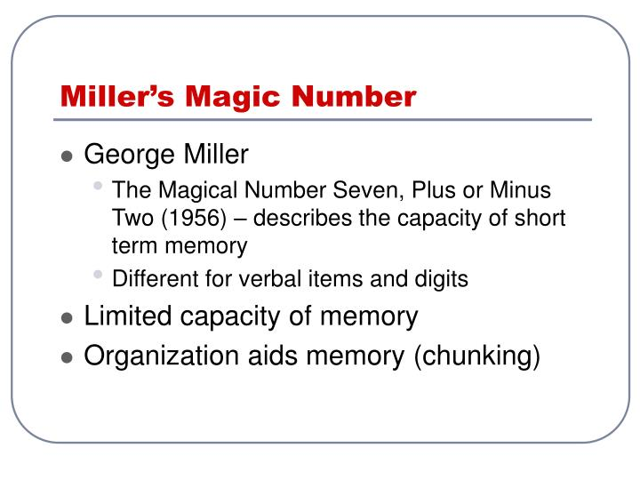 Miller's Magic Number