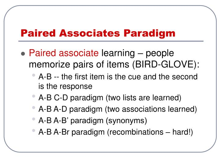 Paired Associates Paradigm