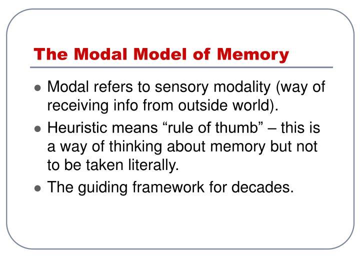 The Modal Model of Memory