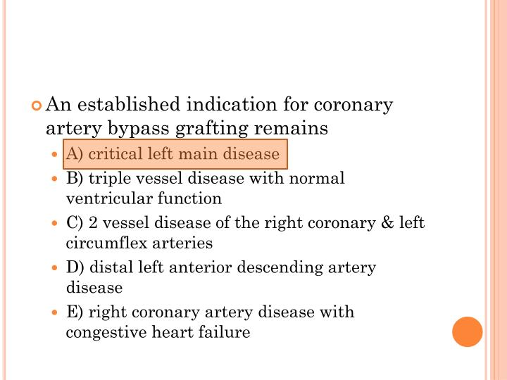An established indication for coronary artery bypass grafting remains