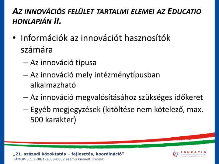 Az innovációs felület tartalmi elemei az Educatio honlapján II.