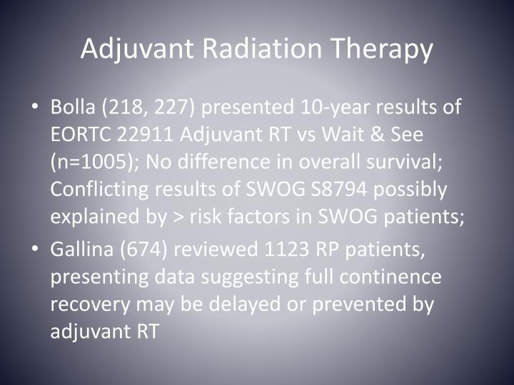 Adjuvant Radiation Therapy