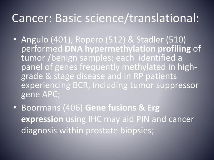 Cancer: Basic science/translational: