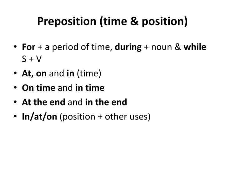 Preposition (time & position)