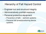 hierarchy of fall hazard control