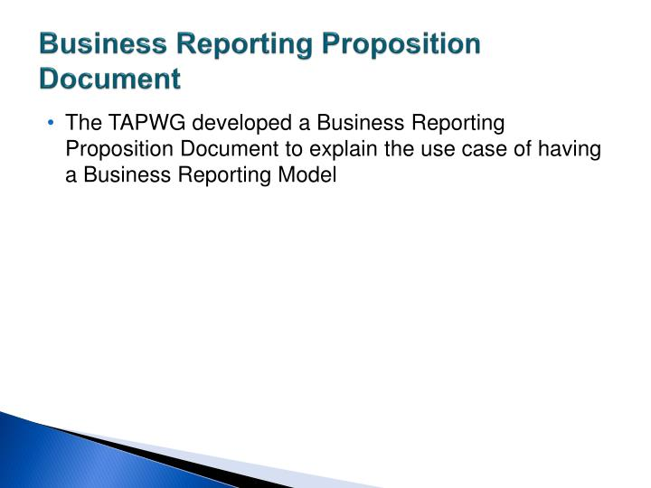 Business Reporting Proposition Document