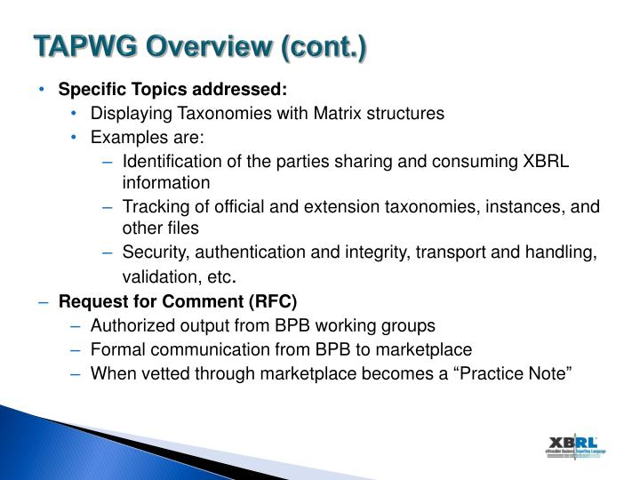 TAPWG Overview (cont.)