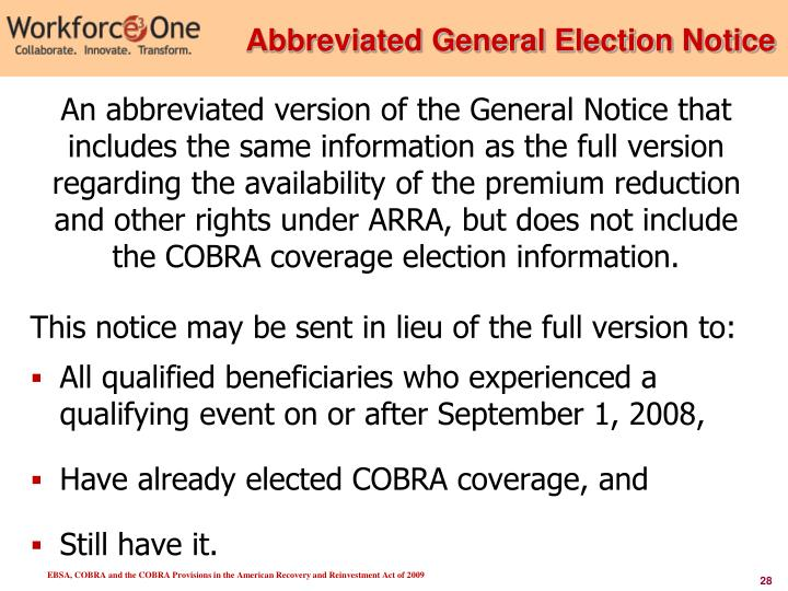 Abbreviated General Election Notice