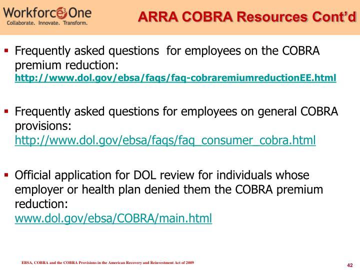 ARRA COBRA Resources Cont'd