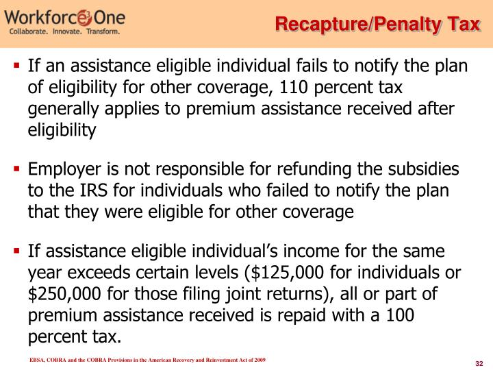 Recapture/Penalty Tax