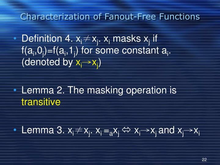 Characterization of Fanout-Free Functions