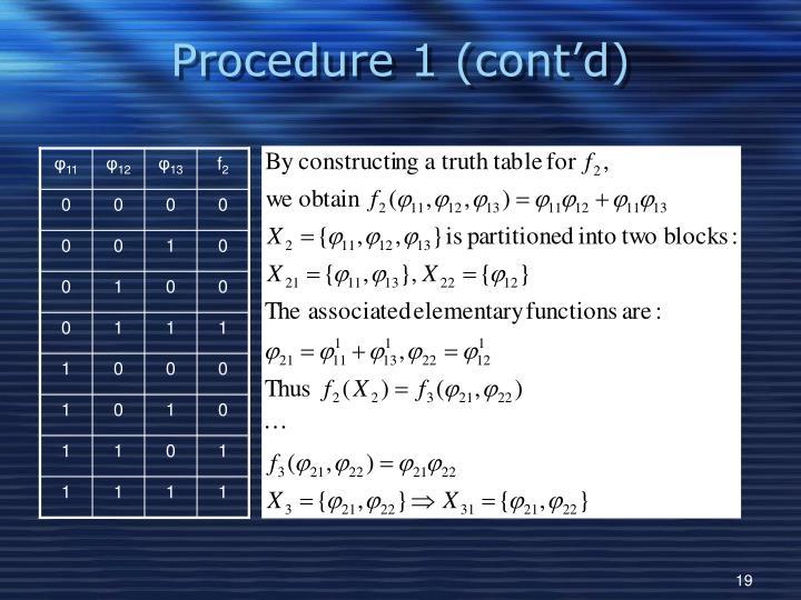 Procedure 1 (cont'd)
