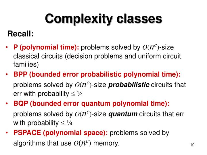 Complexity classes