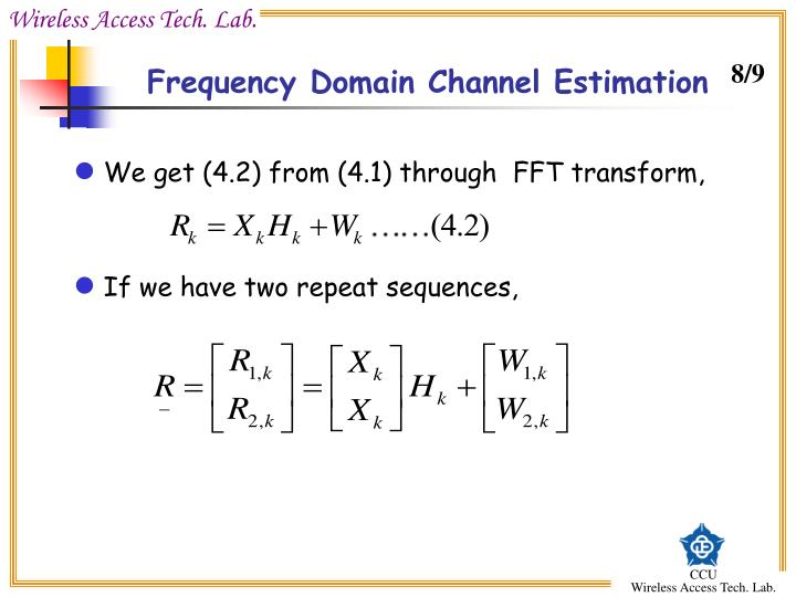 Frequency Domain Channel Estimation