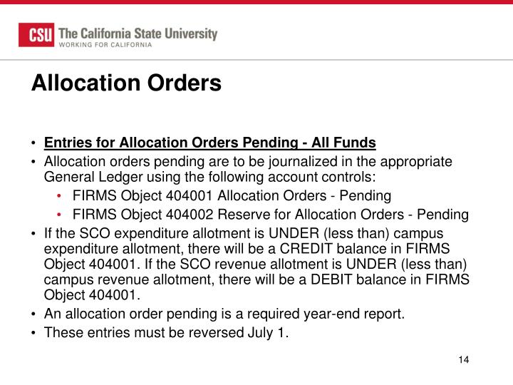 Allocation Orders