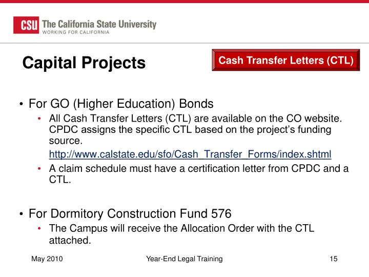 Cash Transfer Letters (CTL)
