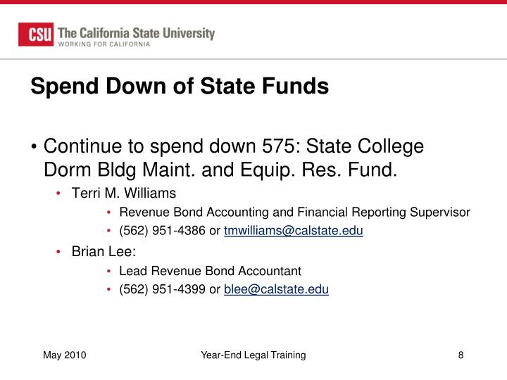 Spend Down of State Funds