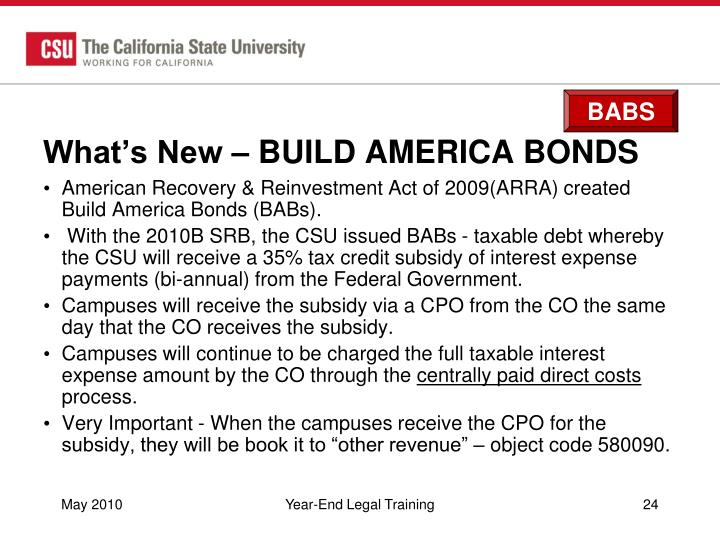 What's New – BUILD AMERICA BONDS