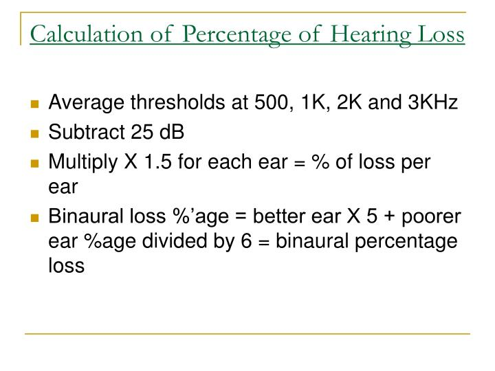 Calculation of Percentage of Hearing Loss