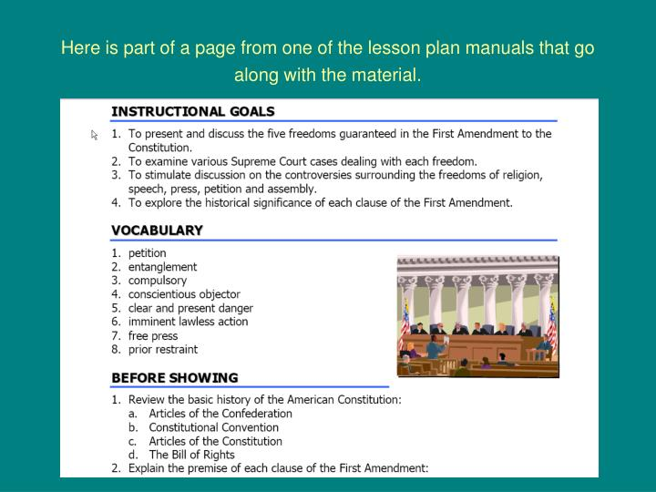 Here is part of a page from one of the lesson plan manuals that go along with the material.