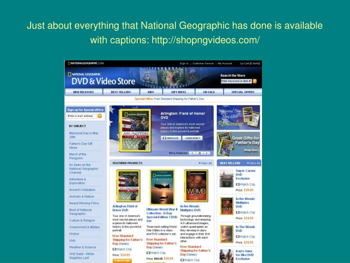 Just about everything that National Geographic has done is available with captions: http://shopngvideos.com/