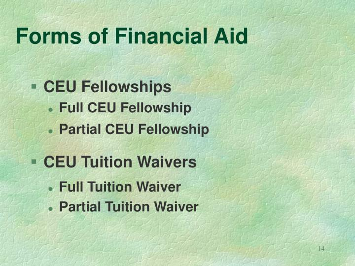 Forms of Financial Aid
