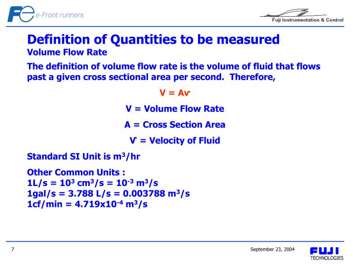 Definition of Quantities to be measured