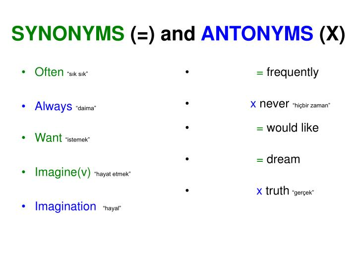 Synonyms and antonyms x1