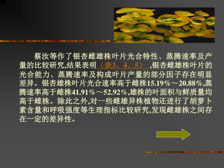 蔡汝等作了银杏雌雄株叶片光合特性、蒸腾速率及产量的比较研究