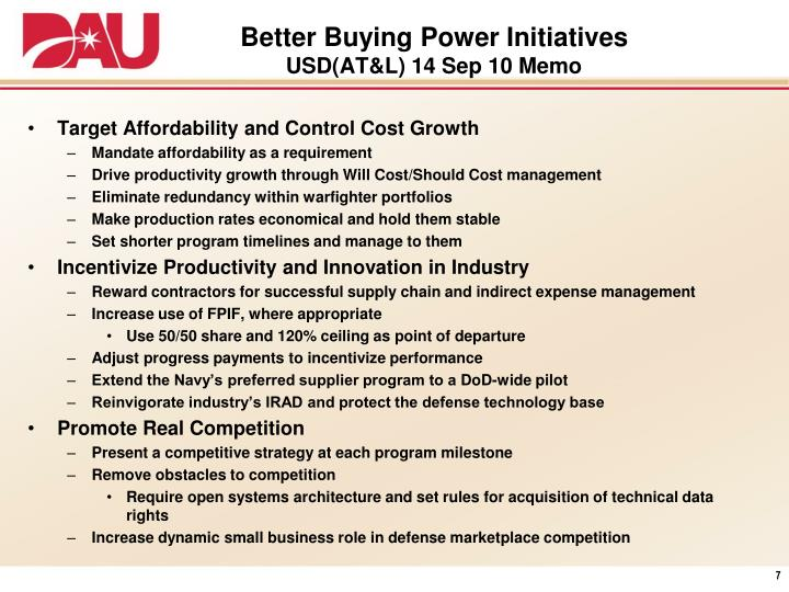Better Buying Power Initiatives