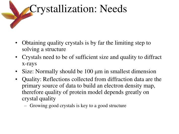 Crystallization: Needs
