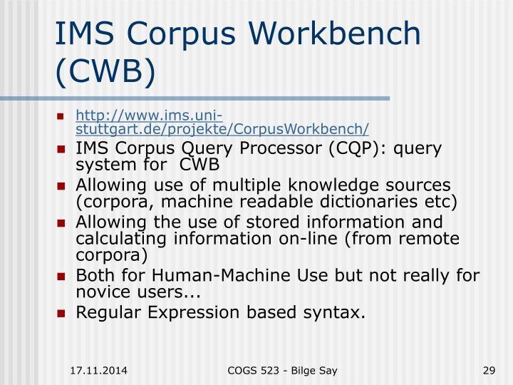 IMS Corpus Workbench (CWB)