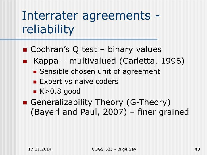 Interrater agreements - reliability
