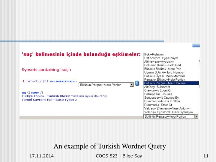 An example of Turkish Wordnet Query