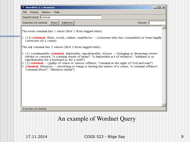 An example of Wordnet Query