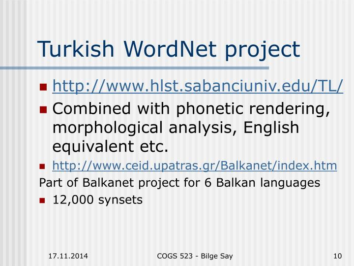 Turkish WordNet project