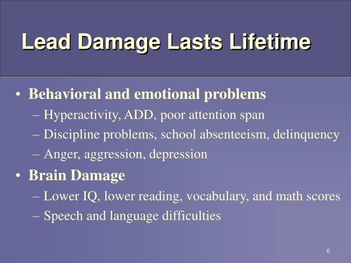 Lead Damage Lasts Lifetime