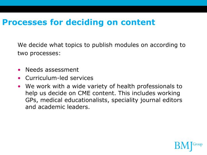 Processes for deciding on content