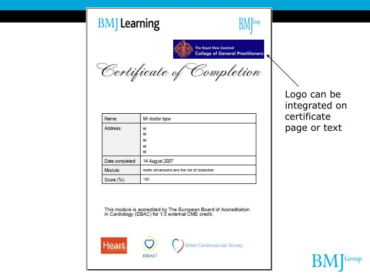 Logo can be integrated on certificate page or text