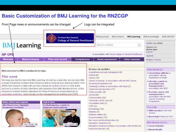 Basic Customization of BMJ Learning for the RNZCGP