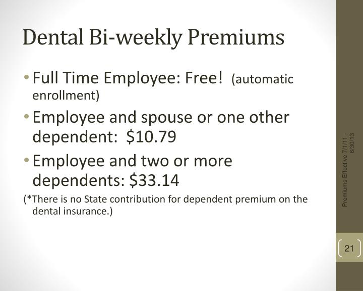 Dental Bi-weekly Premiums