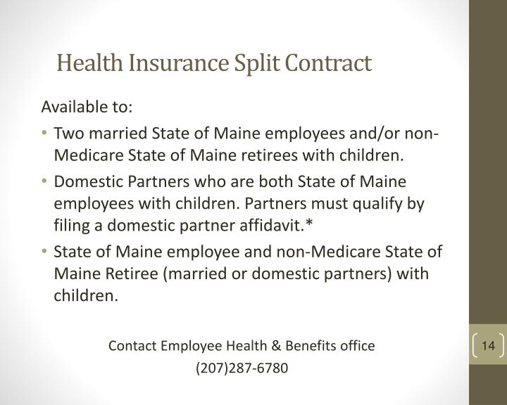 Health Insurance Split Contract