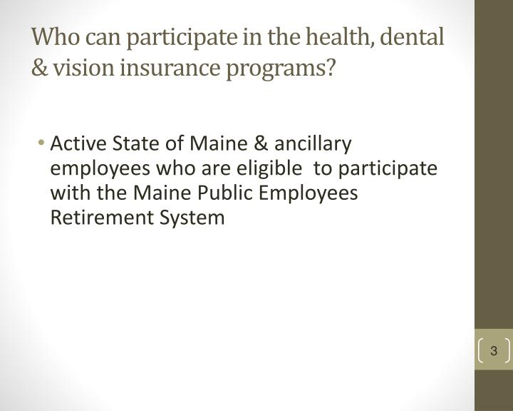 Who can participate in the health, dental & vision insurance programs?