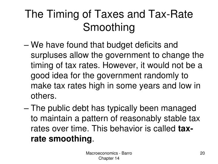 The Timing of Taxes and Tax-Rate Smoothing